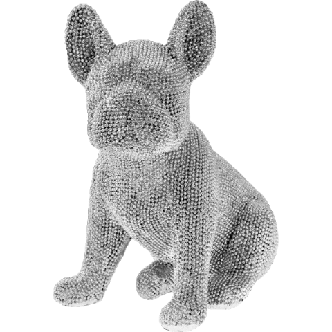 Silver Art Sparkly Bling Diamante Sitting French Bulldog